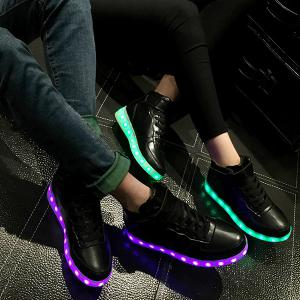 Trendy Lights Up Led Luminous and Tie Up Design Athletic Shoes For Women -