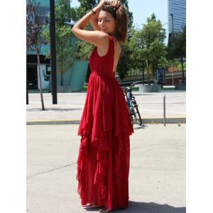 Handkerchief Empire Waist Chiffon Maxi Dress -