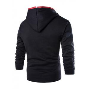 Casual Style Diagonal Zipper Design Long Sleeve Black Hoodie Men -