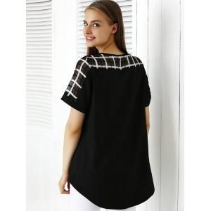 Chic Plaid Splicing Asymmetrical Women's Blouse -