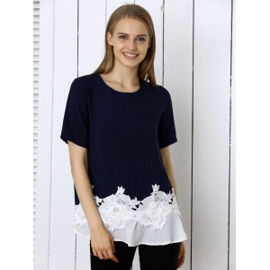 Floral Pattern Spliced Casual T-Shirt - PURPLISH BLUE 3XL