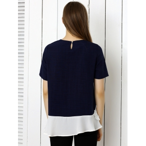 Floral Pattern Spliced Casual T-Shirt - PURPLISH BLUE XL