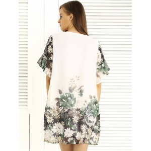 Charming Floral Print Loose-Fitting Women's Dress -