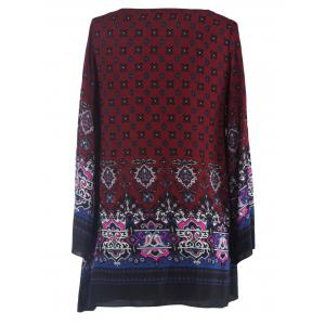 Ornate Printed Shift Dress With Sleeves - WINE RED 2XL
