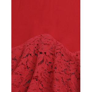 Charming Lace Spliced Flounce Women's Mermaid Skirt - RED M