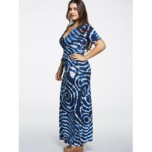 Short Sleeve Plus Size Tie-Dyed Maxi Dress -