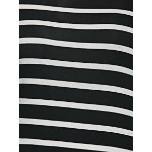 Oversized 3/4 Sleeves Striped T-Shirt Dress -