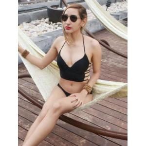 Charming V-Neck Hollow Out Design Women's Swimwear -