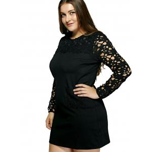 Oversized Crochet Spliced Hollow Out Dress -