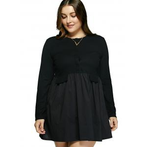 Plus Size Pure Color Patchwork Mini Dress -