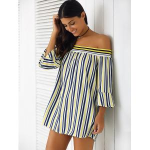 Simple Women's Off-The-Shoulder Bell Sleeves Striped Blouse -