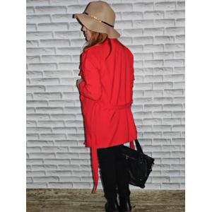 Elegant Turn-Down Collar Candy Color Coat For Women -