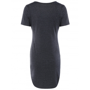 Casual V Neck Grey Furcal Bodycon Dress -