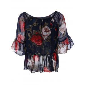 Sweet Women's Off-The-Shoulder Floral Print Chiffon Blouse -