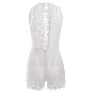 Hollow Out Design Sleeveless Lace Romper -