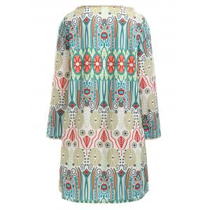 Ethnic Totem Print Long Sleeve Dress -
