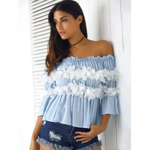 Graceful Women's  Off-The-Shoulder Flowers Bell Sleeves Blouse -