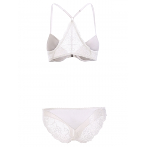 Front Closure Push Up Bra Set with Lace - WHITE 80C