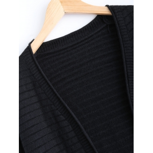 Simple Women's Double Pockets Pure Color Collarless Cardigan - BLACK ONE SIZE
