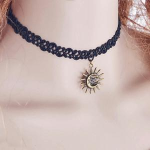 Retro Sun Moon Choker Necklace -