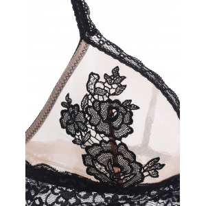 Attractive Women's Floral Embroidered Lace Bra Set -