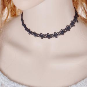 Vintage Flower Choker Necklace - BLACK