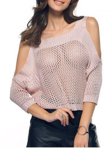 Chic Cold Shoulder Openwork Pure Color Sweater NUDE L
