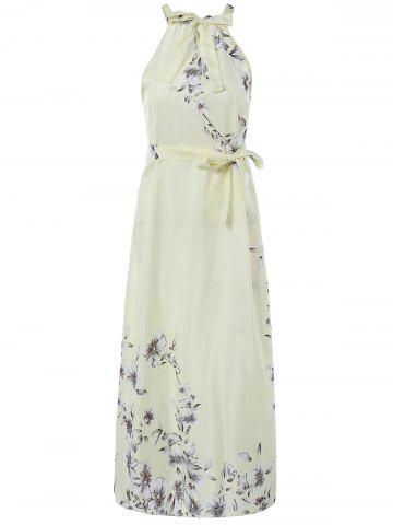 Shops Sweet Sleeveless Floral Tied Dress For Women