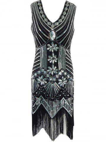 Buy Fringed Sequined Wavy Cut Vintage Flapper Dress BLACK S