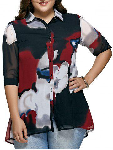 Fancy Oversized Hit Color Blouse For Women RED 5XL