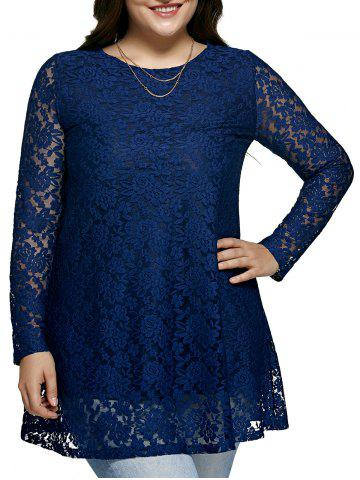 Trendy Women's Laciness Floral Oversized Dress BLUE 5XL
