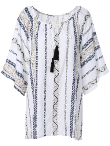 Outfit Gauzy Printed Tassel Blouse For Women WHITE 5XL