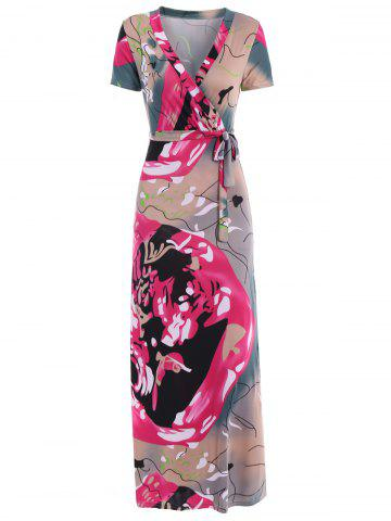 Sale Women's Simple Plunging Neck Colorful Short Sleeve Dress