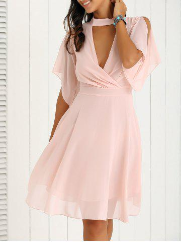 Cheap Petal Sleeve Knee Length Plunging Neck Pleated Dress PINK L