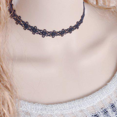 Cheap Vintage Flower Choker Necklace BLACK