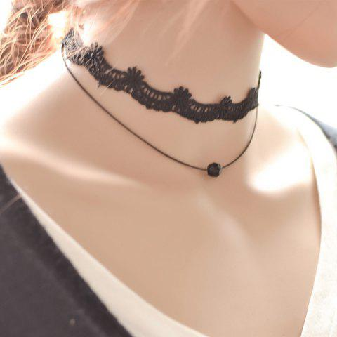 Fancy Lace Flower Bead Choker BLACK