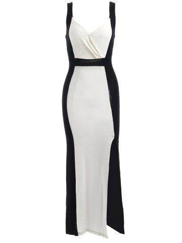 Outfit Two Tone Bodycon Midi Formal Dress WHITE AND BLACK XL