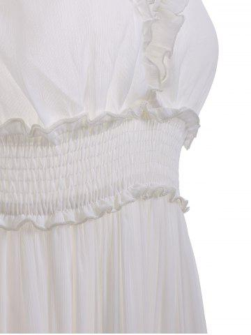 Discount Open Back Ruffles Tiered Maxi Beach Dress - M WHITE Mobile
