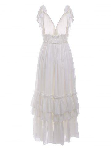 Sale Open Back Ruffles Tiered Maxi Beach Dress - M WHITE Mobile