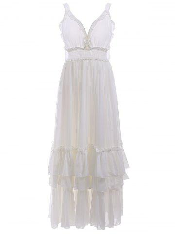 Cheap Open Back Ruffles Tiered Maxi Beach Dress - M WHITE Mobile