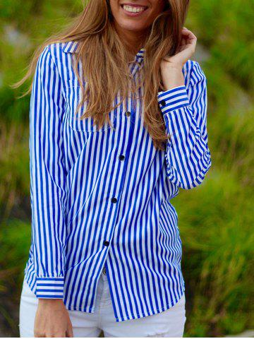 Affordable Casual Shirt Collar Stripes Long Sleeve Blouse For Women