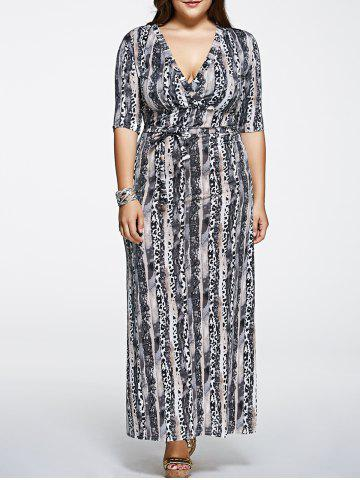 Trendy Plus Size Printed Maxi Dress with Sleeves