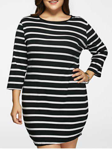 Cheap Oversized 3/4 Sleeves Striped T-Shirt Dress