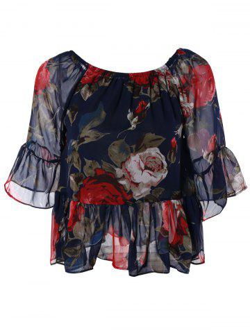 Best Sweet Women's Off-The-Shoulder Floral Print Chiffon Blouse