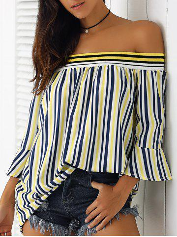 Discount Simple Women's Off-The-Shoulder Bell Sleeves Striped Blouse