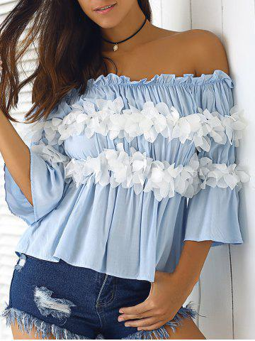 Shop Graceful Women's  Off-The-Shoulder Flowers Bell Sleeves Blouse
