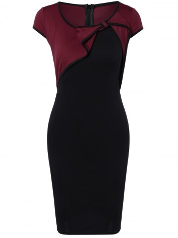 Affordable Elegant Bowknot Hit Color Bodycon Dress For Women WINE RED 2XL