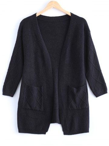Affordable Simple Women's Pure Color Front Pockets Collarless Cardigan