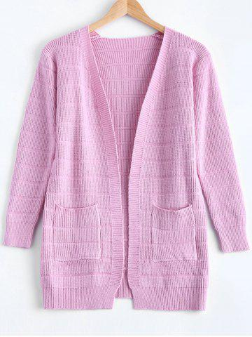 Chic Simple Women's Front Pockets Pure Color Collarless Cardigan