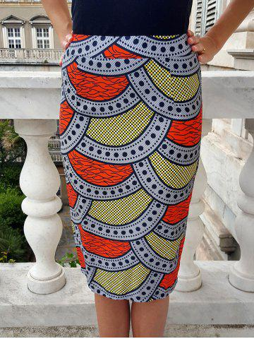 New Ethnic High-Waisted Printed Bodycon Women's Skirt
